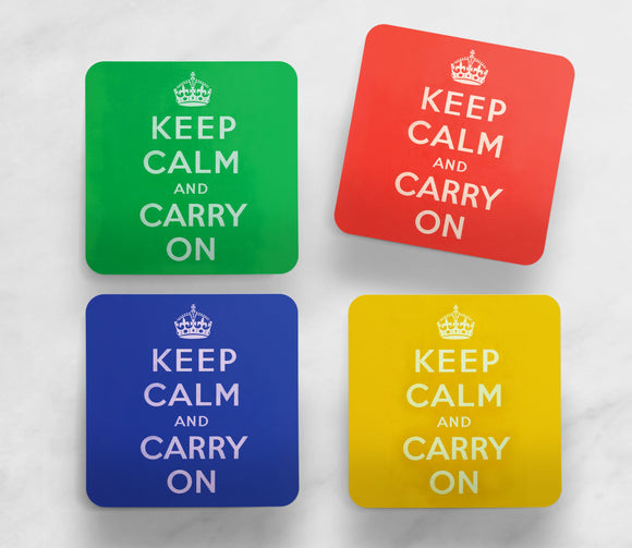 SET OF 4 COASTERS: Keep Calm And Carry On