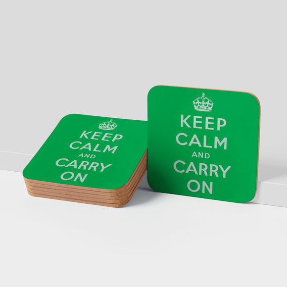 COASTER: Keep Calm And Carry On (Green)