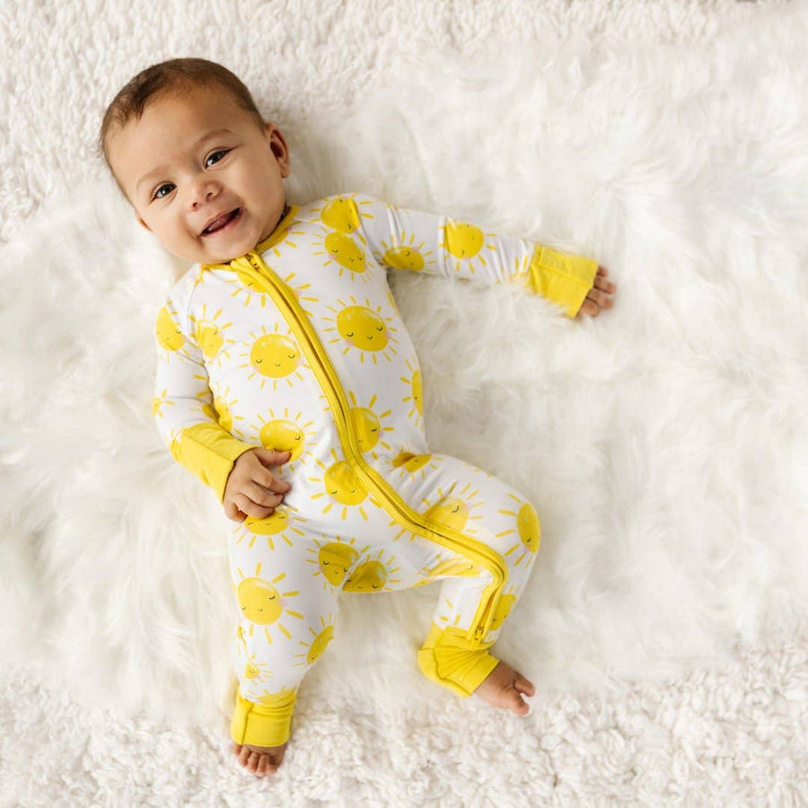 Little Sleepies - Sunshine bamboo viscose convertible romper/sleeper 12-18month