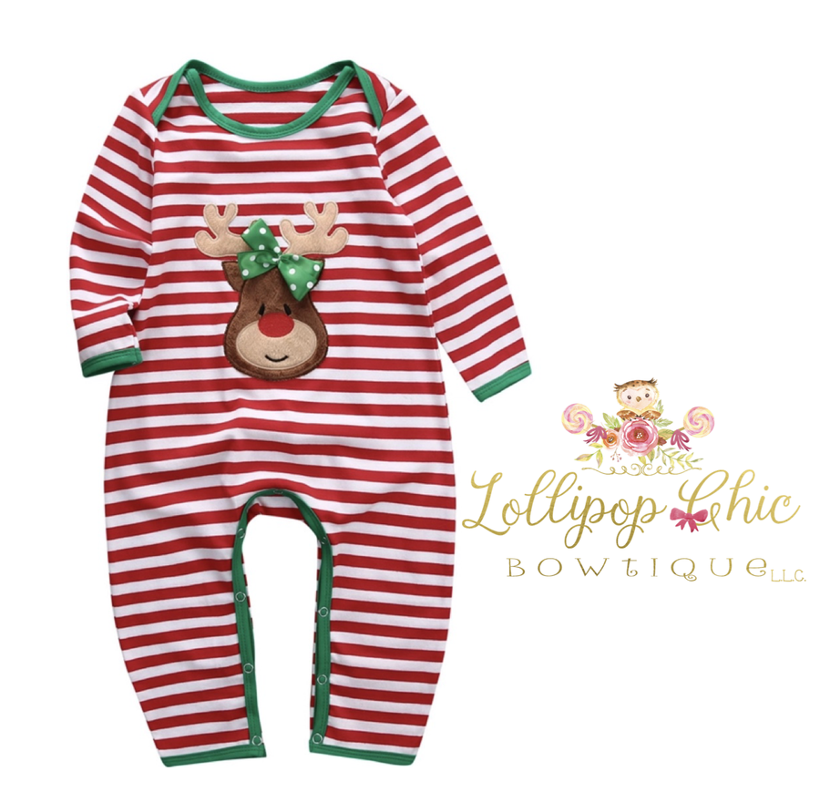 Lollipop Chic Bowtique LLC - Christmas Reindeer Girl Onesie