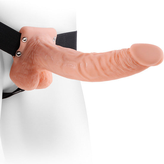 HOLLOW STRAP-ON W BALLS 9 INCH FLESH