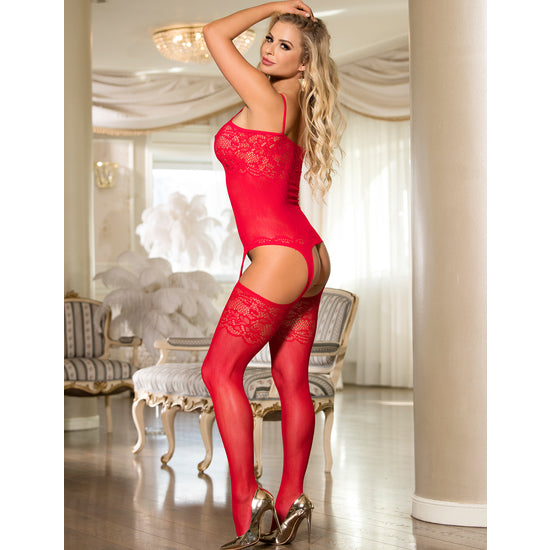 Bodystocking Rojo con Ligueros Sweet Flowers