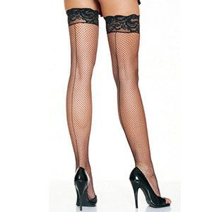 LEG AVENUE STAY UP SPANDEX FISHNET LACE TOP THIGH HIGHS WITH BACKSEAM.
