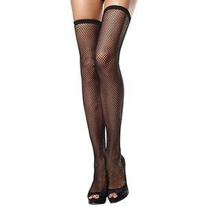 LEG AVENUE FISHNET THIGH HIGHS WITH THIN SCALLOPED ELASTIC TOP - Sensualove - 2