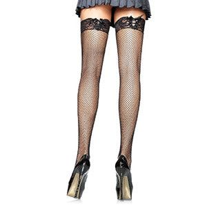 LEG AVENUE FISHNET STOCKINGS WITH CORSET LACE TOP.