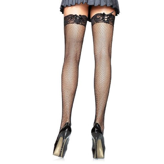LEG AVENUE FISHNET STOCKINGS WITH CORSET LACE TOP. - Sensualove - 3