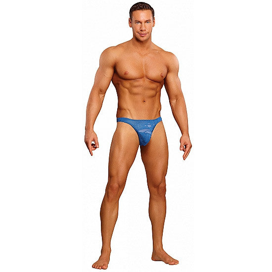 Male Power Tanga Azul Efecto Agujereado