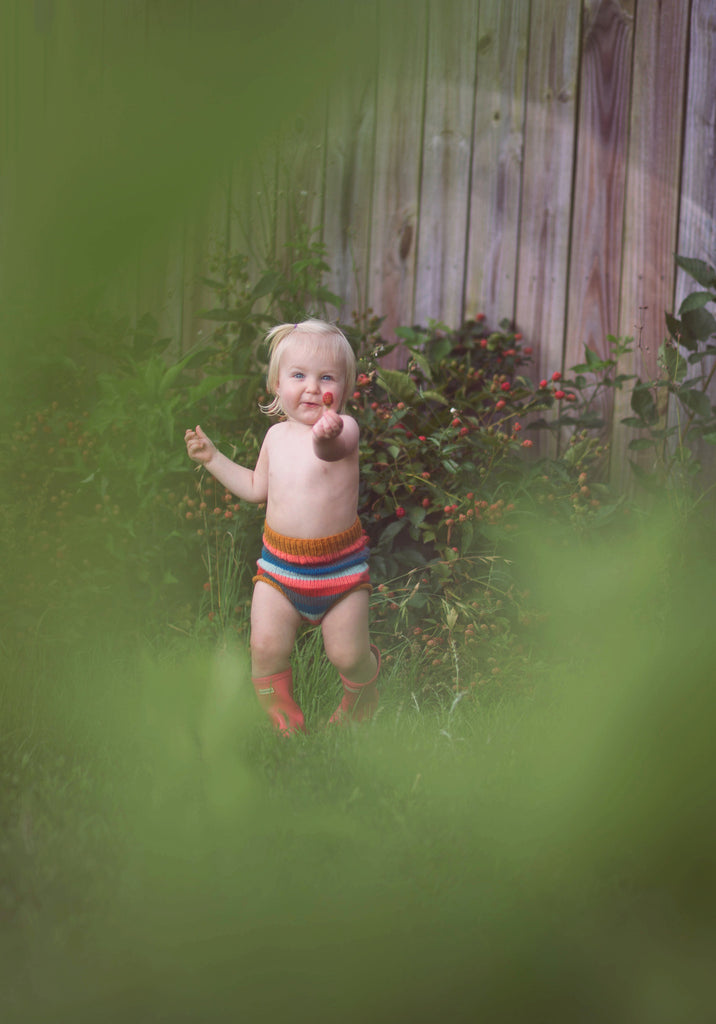 SMALL - Rainbow Stripe - Hand-knit Organic Wool Soaker - One Love Diaper Co.
