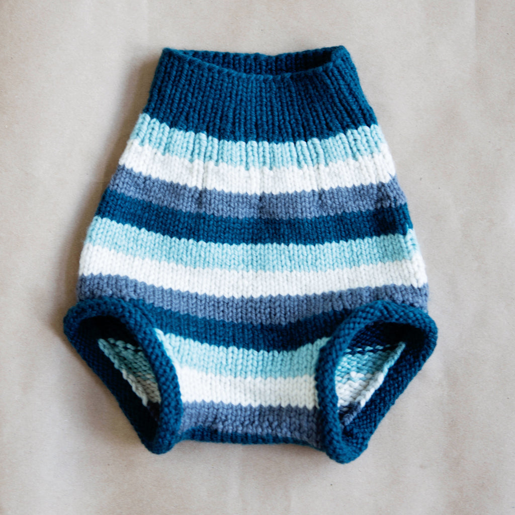 LARGE - Sea & Sky Stripe - Hand-knit Organic Wool Soaker