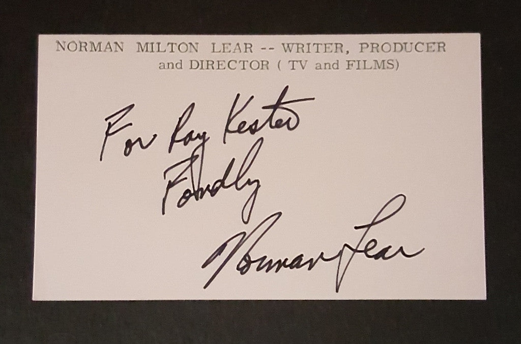 all in the family creator norman lear hand signed index card