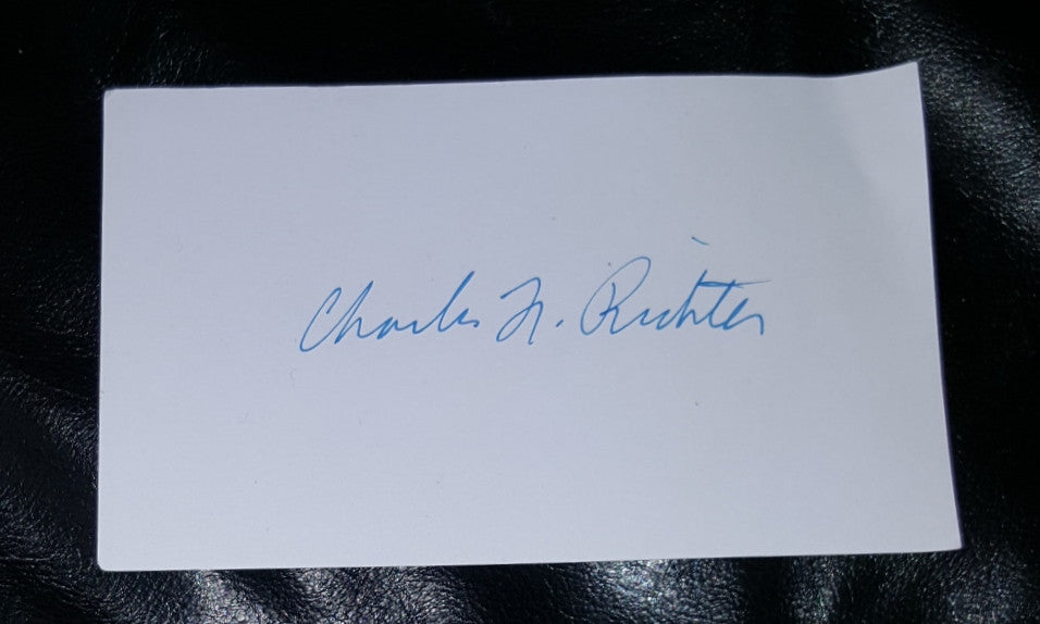 richter scale creator charles richter hand signed index card d 1985