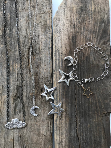 Harvest Charm sky inspired jewelry- cloud, moon, star