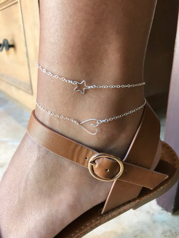Beth Jewelry, dainty handmade sideways heart and delicate star anklets