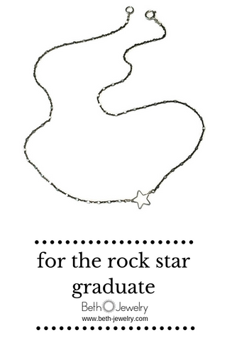 delicate black star necklace, handcrafted by beth jewelry
