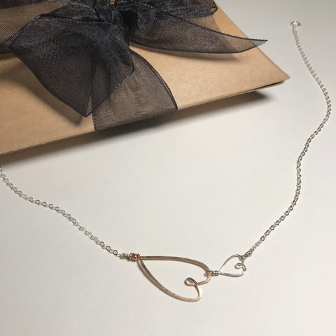 Beth Jewelry 2 Heart Necklace in mixed metals with brown giftbox with black ribbon