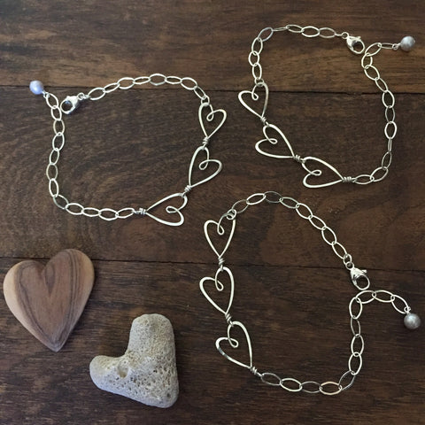 Beth Jewelry, 3 heart bracelet