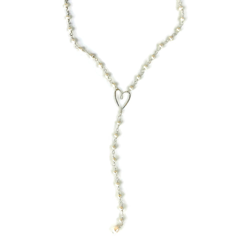 pearl y tiny heart necklace