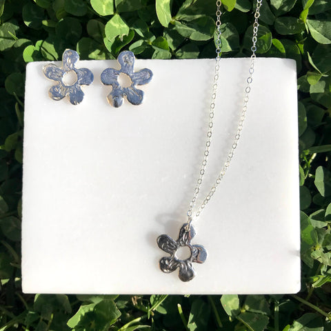 harvest charm silver wildflower post earrings & matching necklace