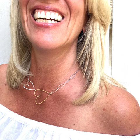 beth jewelry 2 sideways hearts necklace with paperclip style chain
