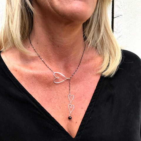 beth jewelry lariat style sliding hearts necklace