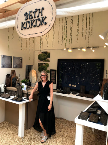 beth jewelry, beth kukuk in booth at sawdust art festival