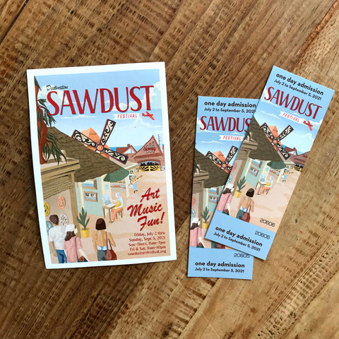 sawdust art festival image of postcard and tickets