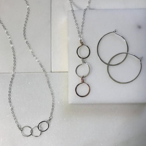 beth jewelry 3 circles necklace and hammered hoop earrings