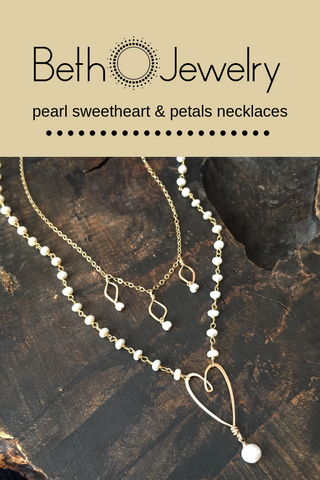 Beth Jewelry pearl sweetheart necklace layered with petals necklace