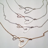 metal options for delicate 2 small hearts necklace with fine chain, Beth Jewelry