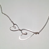 sterling silver 2 small open hearts necklace with fine chain, Beth Jewelry