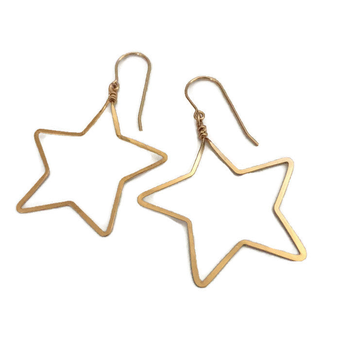 Beth Jewelry handmade lightweight big star earrings, silver, gold or rose gold