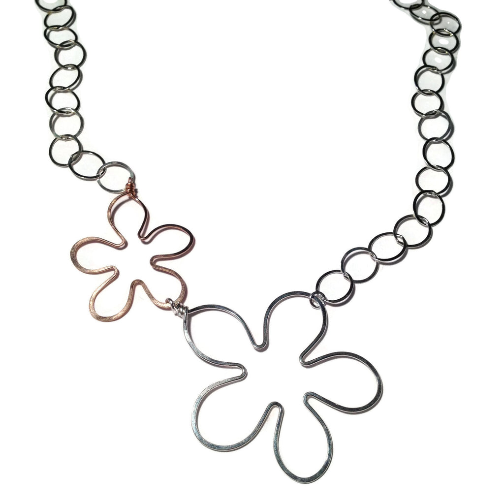 Beth Jewelry, handmade 2 flower necklace