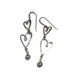 Beth Jewelry, handmade 2 heart earrings
