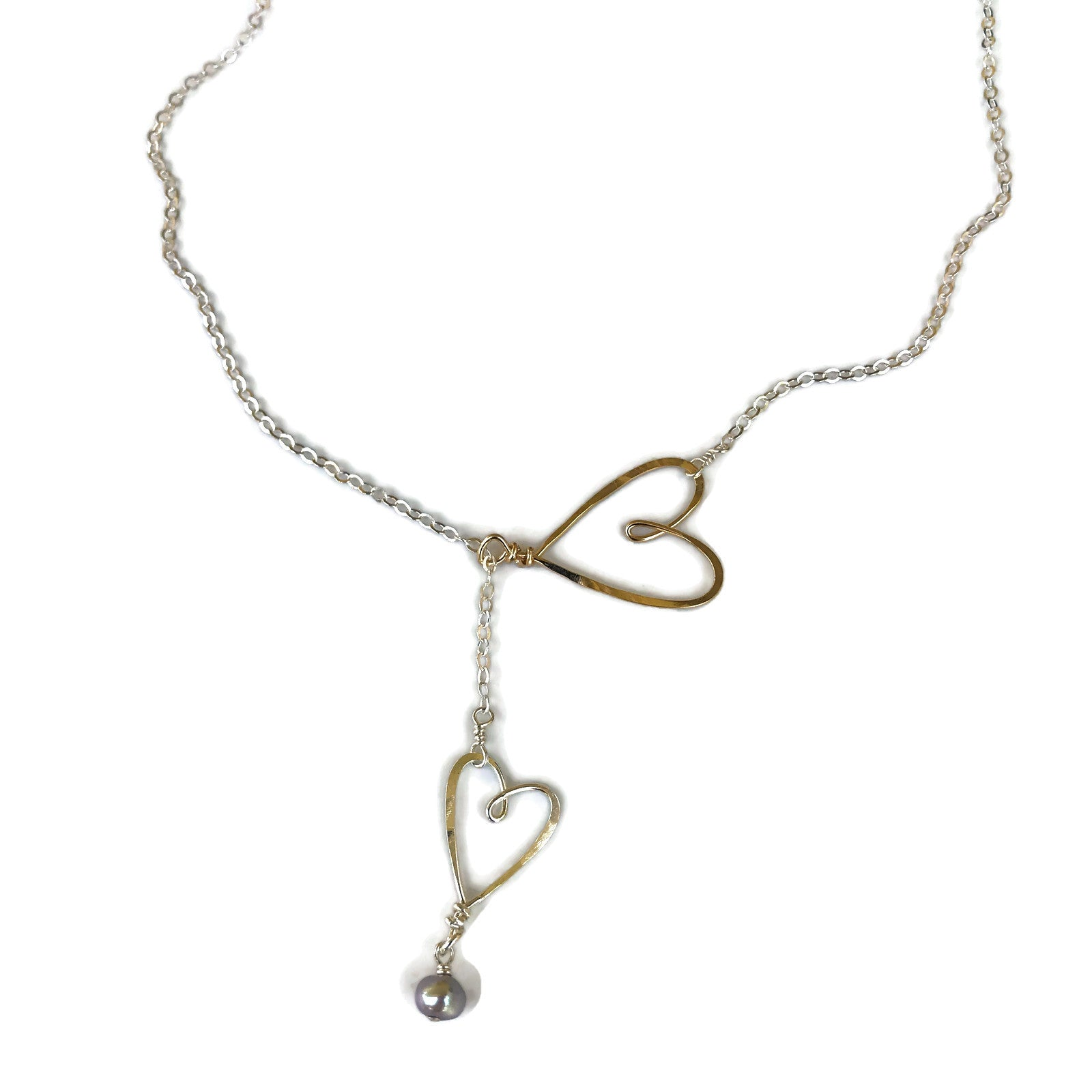 Beth Jewelry handmade 2 sliding hearts silver and gold necklace
