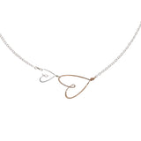 2 small hearts necklace, silver & gold-filled - Beth Jewelry