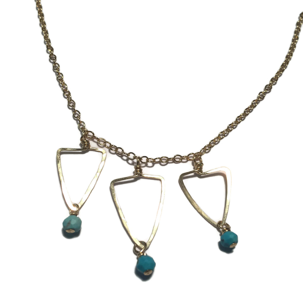 Beth Jewelry, handmade 3 dainty triangles necklace with turquoise