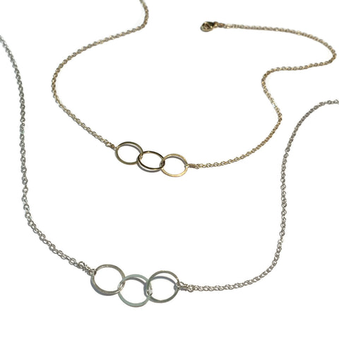 Beth Jewelry, handmade 3 small circles necklace