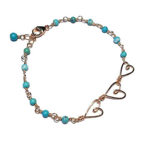 Beth Jewelry, handmade 3 tiny hearts wire-wrapped bracelet