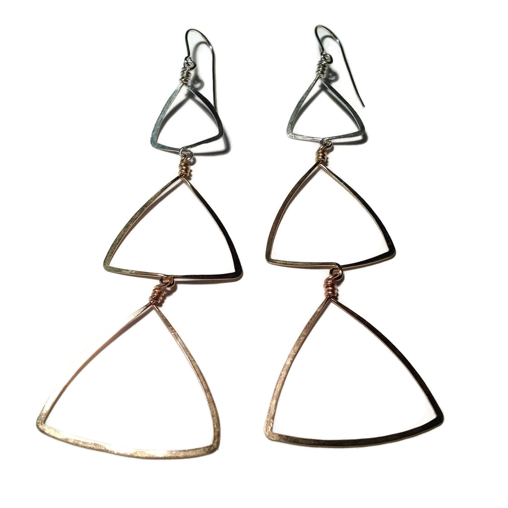 Beth Jewelry, handmade 3 triangles earrings