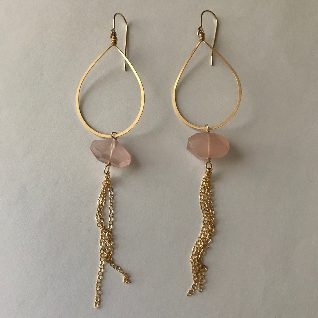 Beth Jewelry, think pink, handmade rose quartz dangly chain big teardop earrings