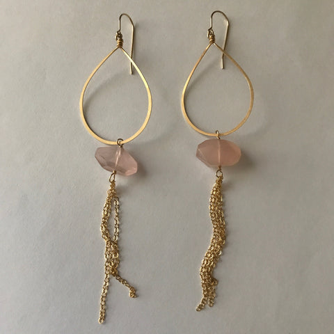 Rose Quartz Dangly Chain Earrings