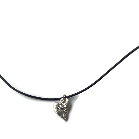 Harvest Charm Small Heart on Leather Necklace