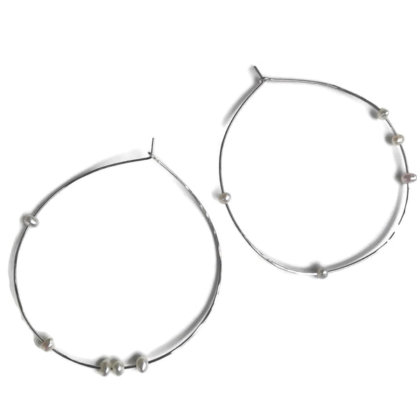 thin handmade silver hoops with tiny pearls, beth jewelry