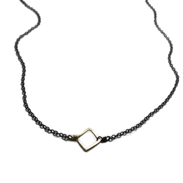 beth jewelry delicate open square necklace on oxidized silver chain with gold square