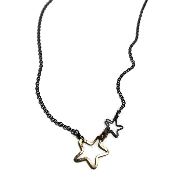 beth jewelry delicate oxidized, black & gold necklace with 2 open stars