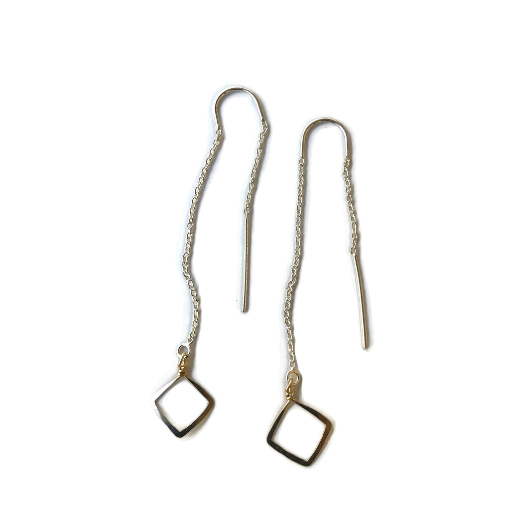 Beth Jewelry tiny square threader earrings