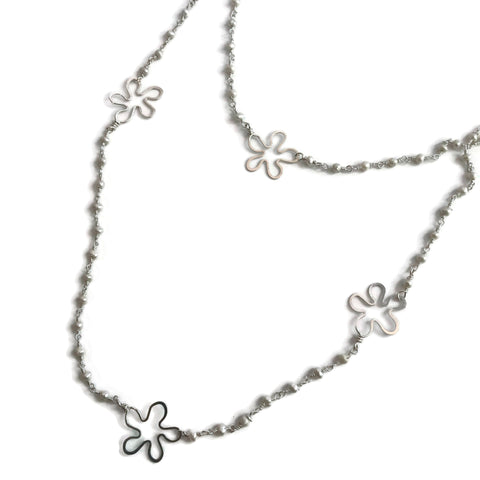 Long Pearl Flower Necklace