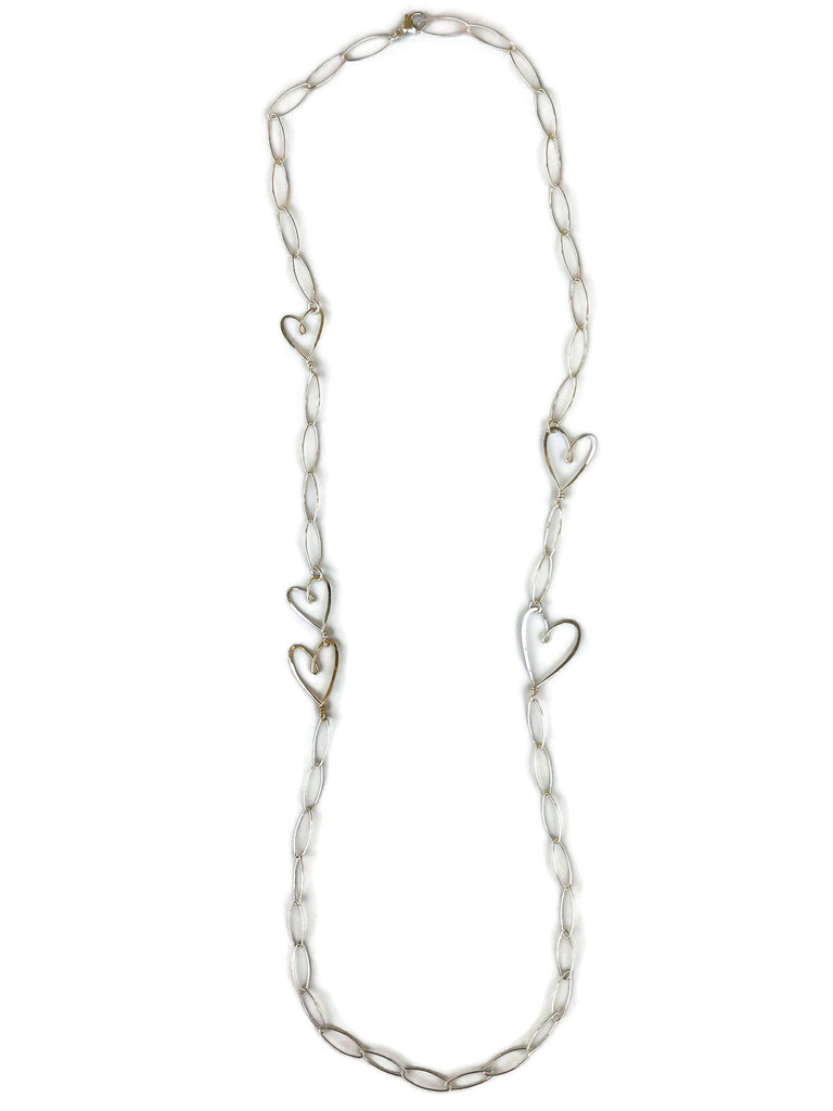Long Necklace with Hearts