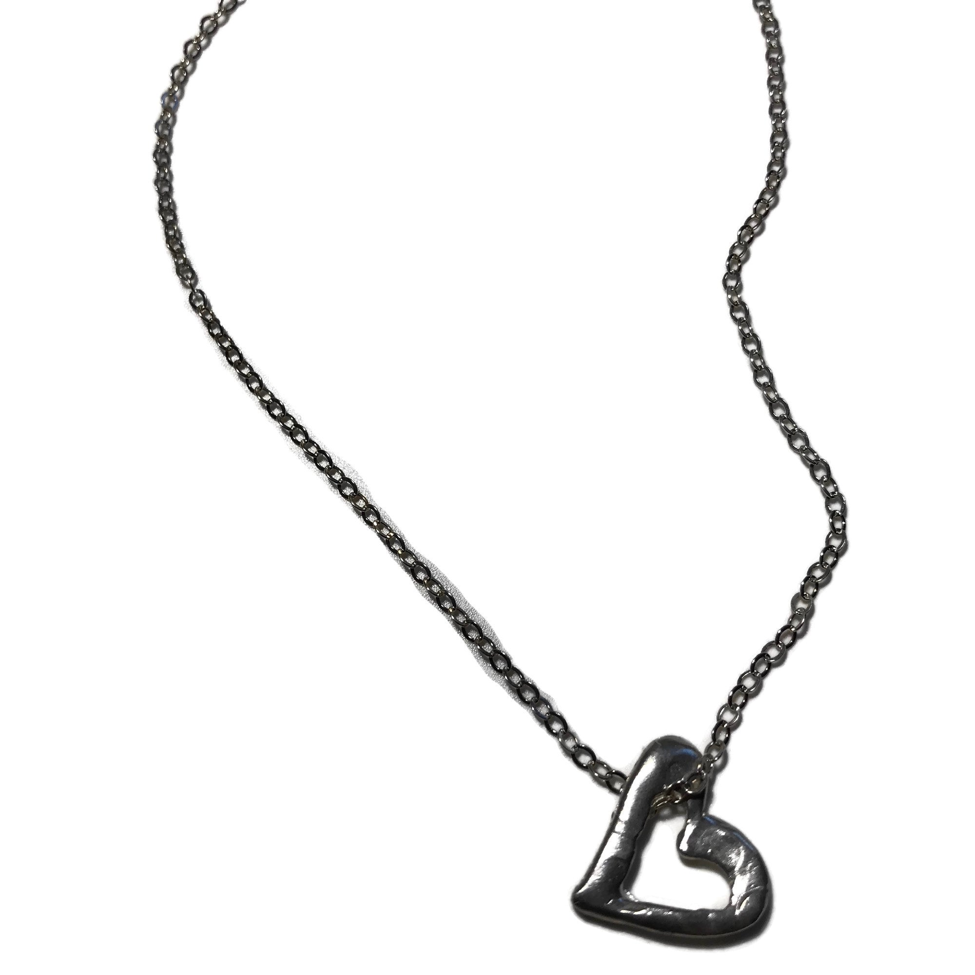 silver hand-carved open heart pendant on delicate silver chain necklace