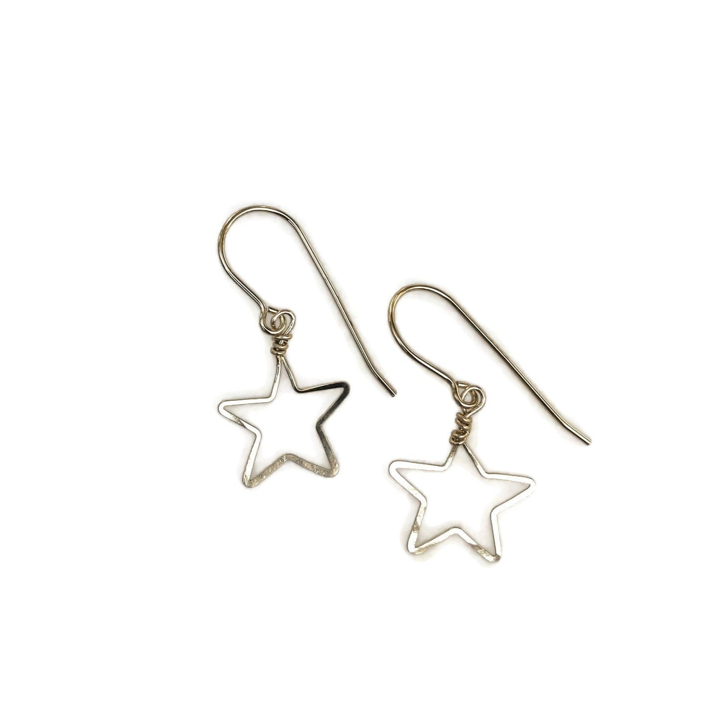handmade small open star earrings, silver, gold, rose gold, beth jewelry